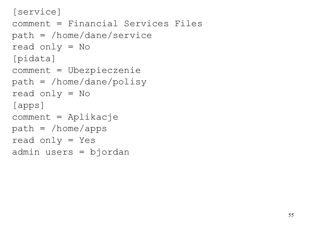 [service]comment = Financial Services Files. path = /home/dane/service. read only = No. [pidata] comment = Ubezpieczenie.